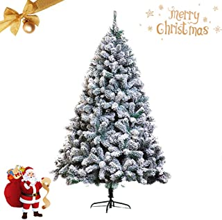 5Ft Artificial Christmas Tree Flocked Snow Pine Tree Holiday Decor with Metal Stand