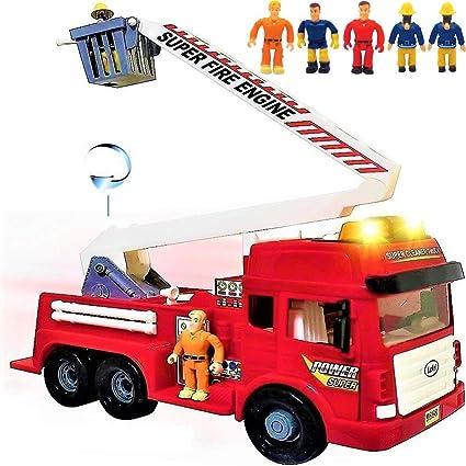 Amazon Com Camión De Bomberos De Juguete Con Luces Y Sonidos 4 Sirenas Escalera Plegable Grande Ruedas De Fricción Potentes Gran Red Play Fire Engine Fireretruck Para Niños Niños