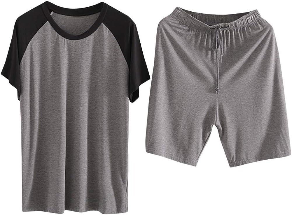 Men's Pajama Set Summer Short Sleeve Lounge Soft Modal Shirt & Shorts Sleepwear