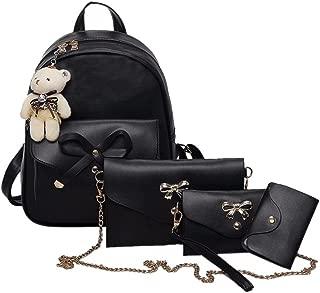 Clearance! Women Teen Girls PU Leather 4pcs Set Backpack Purse Shoulder Bag Handbag Crossbody Bag Rucksack (Black)