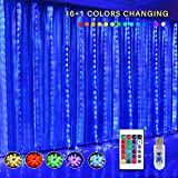 KJOY 16 Color Changing Rainbow Curtain Lights Backdrop Window String Lights, 310LED USB Remote Control Fairy Icicle Lights for Valentine's Day, Bedroom, Weddings, Party, Christmas Decor, Birthday