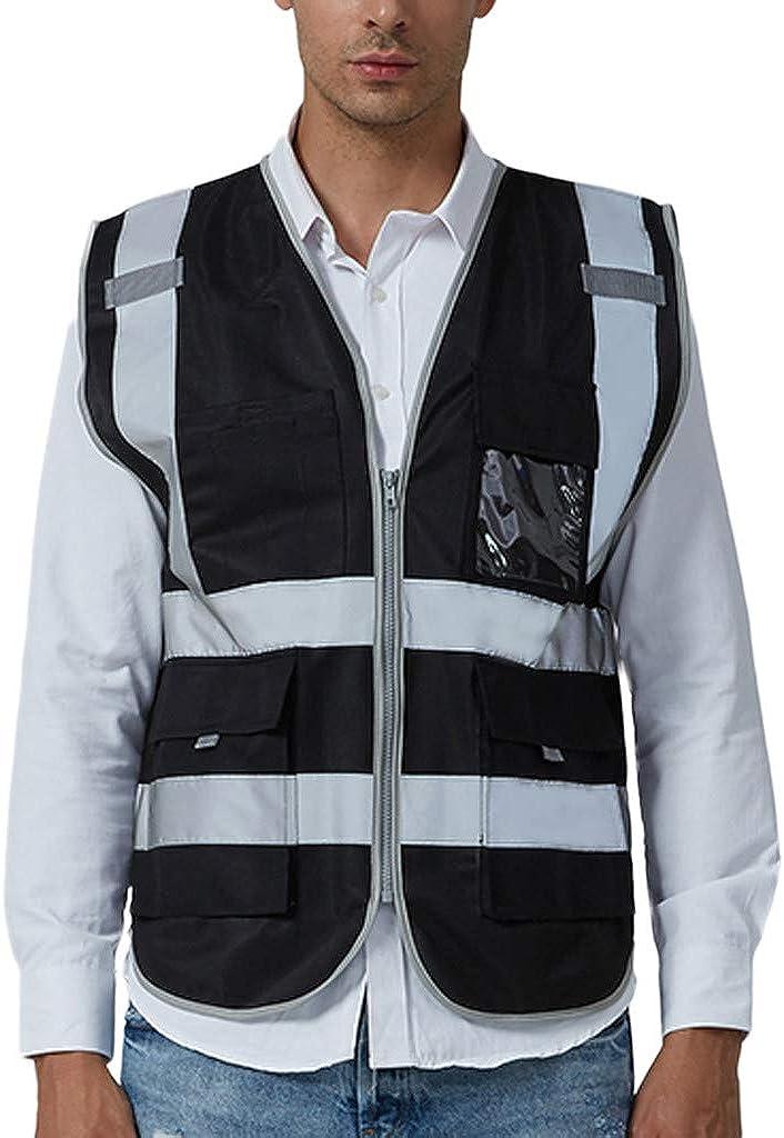 AKIMPE Men Road Work High Visibilitypullover Sleeveless Jacket British Suit Vest Blouse