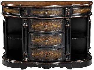Stein World Furniture Vila Credenza, Mediterranean Oliver, Black and Wood Tones