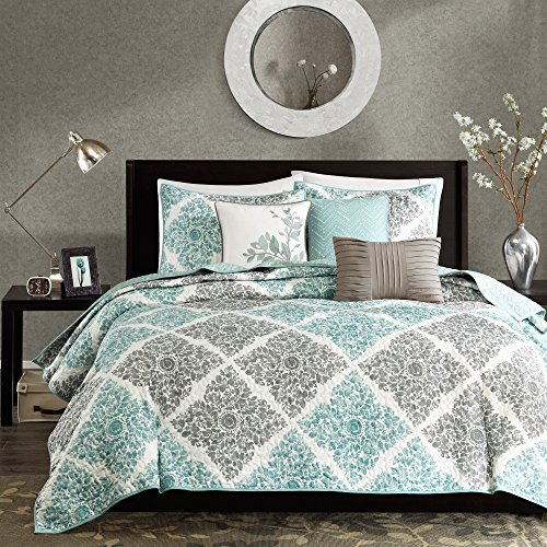 "Madison Park Quilt Modern Classic Design All Season, Breathable Coverlet Bedspread Lightweight Bedding Set, Matching Shams, Decorative Pillow, Full/Queen(90""x90""), Claire, Diamond Aqua, 6 Piece"