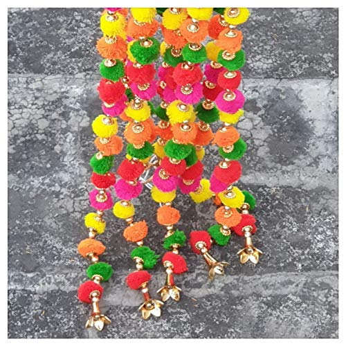 R and D Handicrafts 5-String Handcrafted Boho Pom Pom Garland with Gold Bell. The Colorful Bohemian Accent You Have Been Looking for 4 FT Per String (Diwali Rainbow)