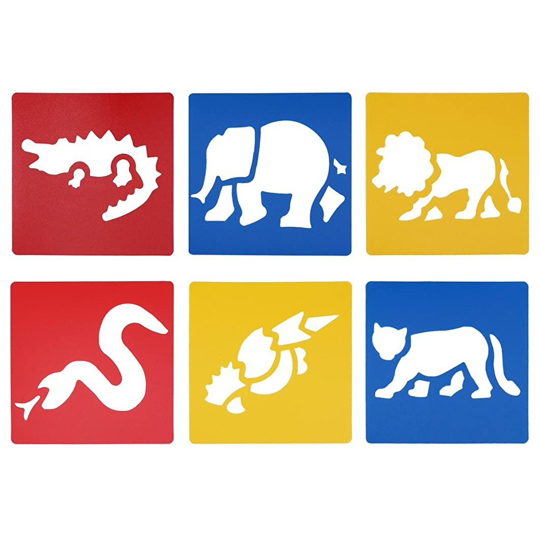 LGEGE Assorted Colors Plastic Jungle Animal Painting Stencils for Kids Crafts (Crocodile, Elephant, Lion, Leopard, Snake, Eagle)