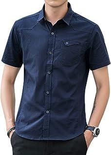 シャツ メンズ 半袖 ビジネス 通勤 通学 夏 無地 カジュアル 大きいサイズ 無地 細身 JIAYBL