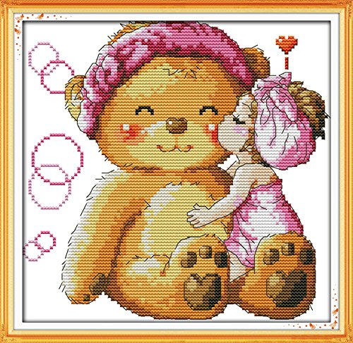 Cross Stitch Embroidery Starter Kit Including 11ct Stamped Aida Pre-Sorted Colored Threads And Tools Cotton Fabric Patterned with Design of Kiss Bear