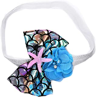 Starfish Mermaid Flower Headbands for Baby Girls Hair Band Fish Scale Bow JBC21