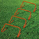"""Gr8 Fitness Sport's 2006787 Orange 4 Pack 9"""" Speed Agility Hurdles Football Soccer Rugby Gym Training Equipment Set"""