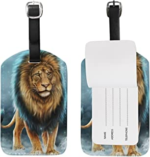 MASSIKOA Hipster Lion PU Leather Luggage Bag Tags Suitcase Labels,1 Pcs
