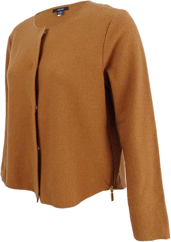Alfani Womens Merino Wool Long Sleeves Blazer Brown XL