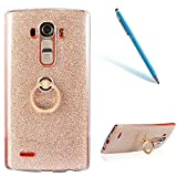 CLTPY LG G4 Funda, Lujo Purpurina LG G4 Carcasa Cristal Silicona Suave Caso + Papel Brillante [Ultra Híbrido] Caja Protectora con Anillo de Chapado en Oro para 5.5' LG G4 + 1 x Aguja - Oro 1