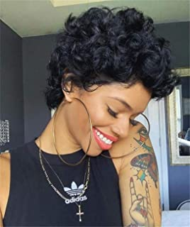 None Lace Front Wigs For black Women,Short Bob Curly Human Hair Wigs 100% Brazilian Virgin Hair Wig Glueless Bouncy Love A...