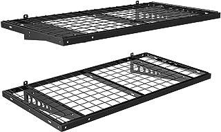 FLEXIMOUNTS 2-Pack 2x4ft 24-inch-by-48-inch Wall Shelf Garage Storage Rack Floating Shelves Bike Racks, Black