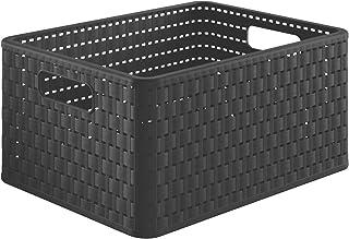 Rotho Country Boîte de Rangement 18L en Aspect Rotin, Plastique (PP) sans BPA, Noir, A4/18L (36,8 X 27,8 X 19,1 cm)