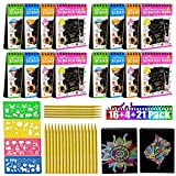 16 Pack Scratch Arts and Crafts Notebooks Scratch Note Pads Sketch Art Notes Drawing Notepads with Wooden Stylus and 4 Drawing Stencils for Kids Arts and Crafts Perfect Travel Activity
