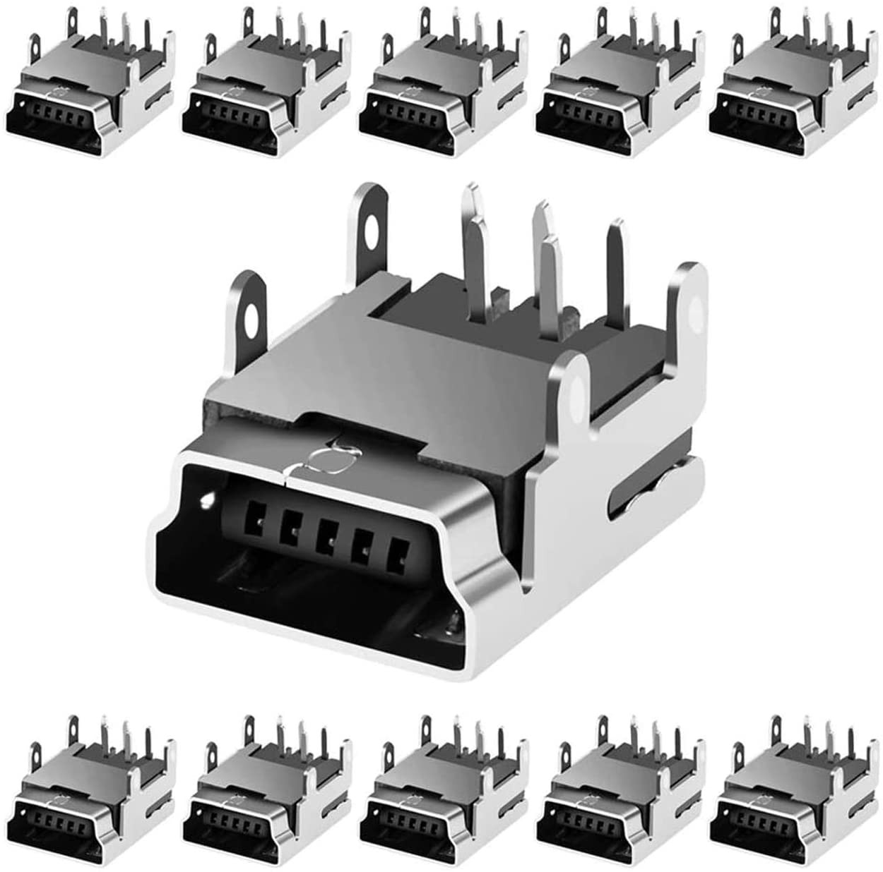 Industry No. 1 MUZHI 10 Pcs Mini USB Fixed price for sale Type B Angle 5-Pin Female Dip Right Socket