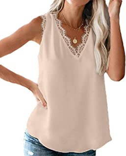 desolateness Womens V Neck Lace Strappy Tank Tops Casual Sleeveless Blouse Shirts