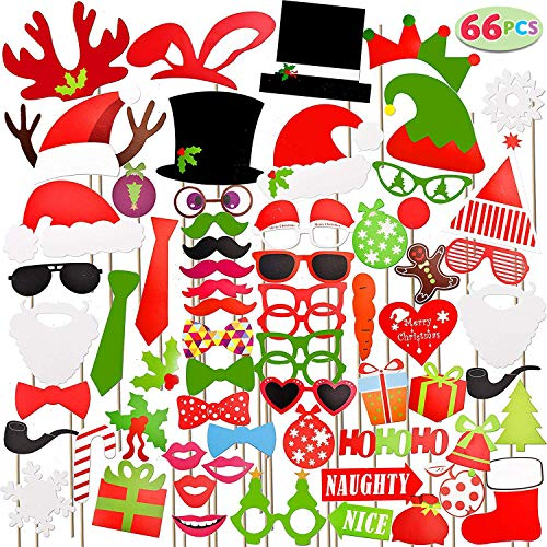 JOYIN 66 Pieces Christmas Photo Booth Props for Christmas Event Party Favors and Christmas Decorations Art Crafts.