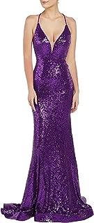 Jonlyc Women's Deep V-Neck Mermaid Prom Dresses Long Sequin Cross-Back Evening Gowns