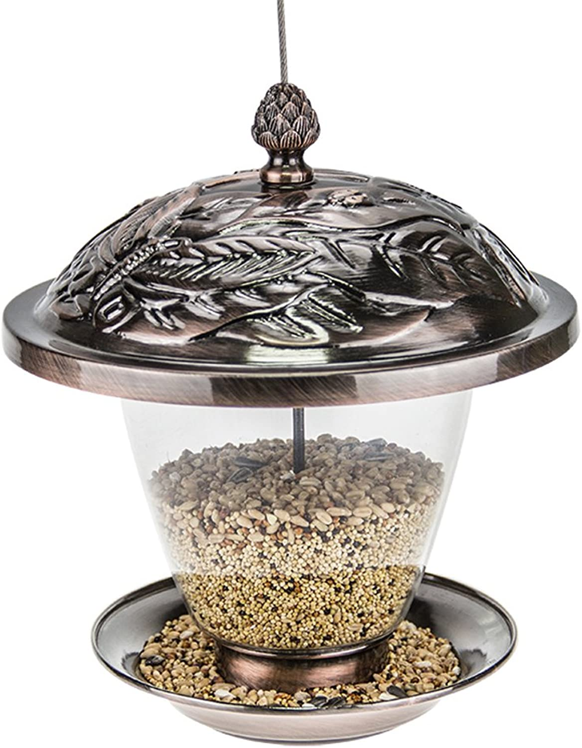 Copper Panorama Wild Bird Feeder Gazebo Hanging for Finches Bird Seed and More,Great for Attracting Birds Outdoors,C