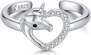 Qings Anelli Unicorno Regolabili Anello Cuore Argento 925 con Zircone per Donna e Ragazza, Piccoli Regali Dopo la Festa di...