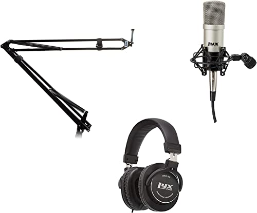 discount LyxPro high quality Microphone Arm Stand Mount Adjustable Mic Boom Swivel Mount With Recording Condenser Microphone, Spider Shockmount & 10FT XLR new arrival Cable & Professional Studio Headphones sale