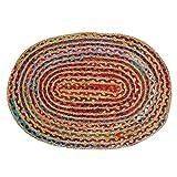 Alfombra Trenzada Ovalada - Alfombra de Trapo 61x92 cm Chindi Alfombra de Piso Tejida a Mano 100% algodón reciclada para decoración del hogar Boho Decorativa - Multicolor