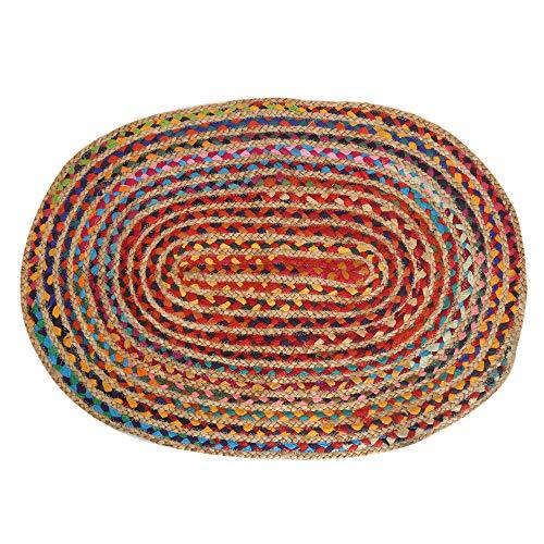 Ovale Chindi Tapis - 61x 92 cm - Tapis Réversible en Coton Recyclé et Jute Naturel pour Intérieur et Extérieur Multicolore