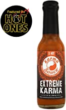 Extreme Karma | Featured on Hot Ones! | Extra Hot With A Savory-Sweet Tang | Bhut Jolokia, Trinidad, Moruga Scorp | No Preservatives, No Extracts, Vegan | Made In Finger Lakes, USA | 5 fl. oz bottle …