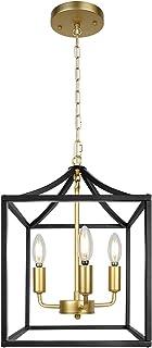 3-Light Industrial Black and Gold Chandelier Modern...