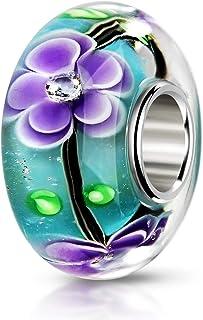 Materia, ciondolo in vetro di Murano con 3zirconi, ciondolo con fiori color lilla e turchese per European Beads Armband #...
