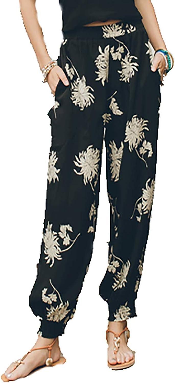 CG Women's Printing Boho Beach Yoga Pants Bloom Pants Harem Pants TS03