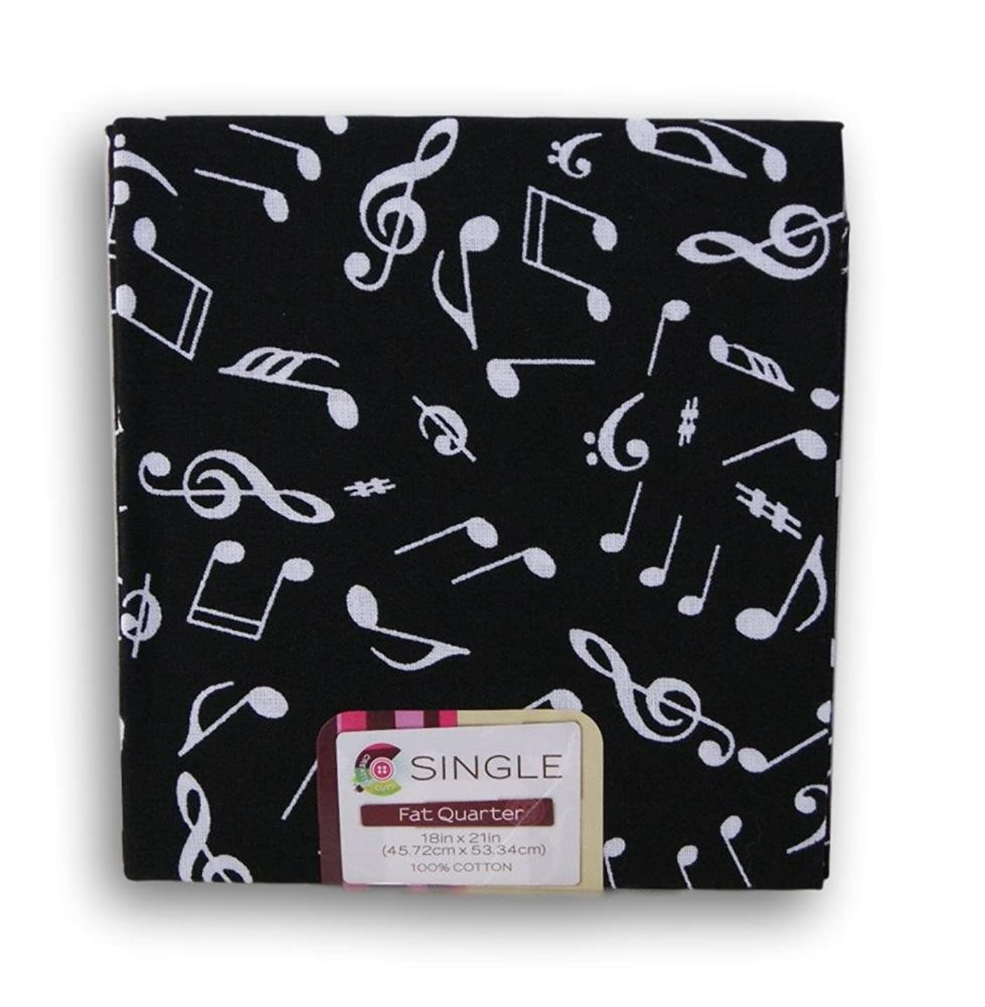 Creative Cuts Fat Quarters - White Musical Notes on Black Background feptlovaf