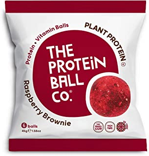 The Protein Ball Co. Plant Protein and Vitamin Raspberry Brownie Protein Balls, 45 g