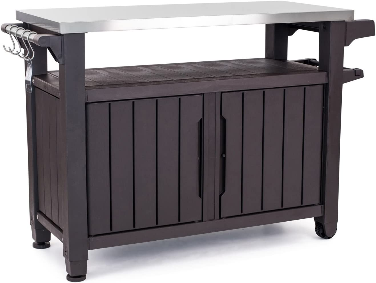 Keter Unity XL Portable Outdoor Table and Storage Cabinet with Hooks for Grill Accessories-Stainless Steel Top for Patio Kitchen Island or Bar Cart, Espresso Brown : Sports & Outdoors