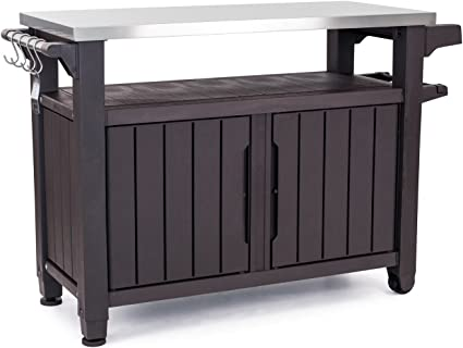 Amazon Com Keter Unity Xl Portable Outdoor Table And Storage Cabinet With Hooks For Grill Accessories Stainless Steel Top For Patio Kitchen Island Or Bar Cart Espresso Brown Garden Outdoor