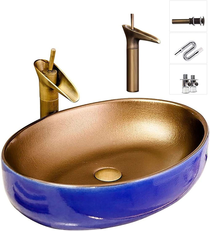 APENCHREN Ovales Waschbecken, Aufsatzwaschbecken für Badezimmer, Gehrtetes Glasbecken, mit Wasserhahn und Zubehr, Modernes Keramikwaschbecken, Hotel (55x40x14cm),C