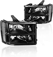 Headlights Assembly for GMC Sierra 1500 2500HD 3500HD 2007-2013 with Black Housing Clear Reflector Clear Lens Driver and Passenger Side Headlamps Replacement 22853029,22853030