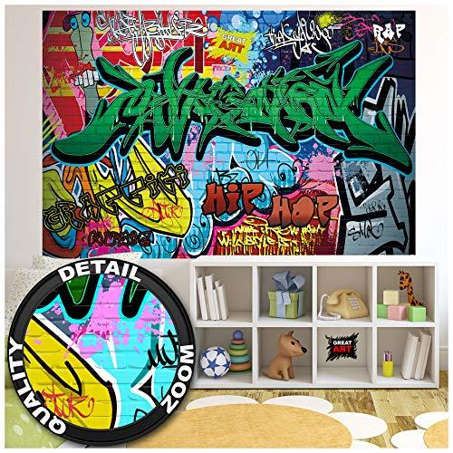 GREAT ART Fototapete Kinderzimmer – Street Style – Wandbild Dekoration Graffiti Art Writing Pop Art Schriftzüge Wall Painting Mauer Urban Abstract Comic Wandtapete Wanddeko (210x140 cm)