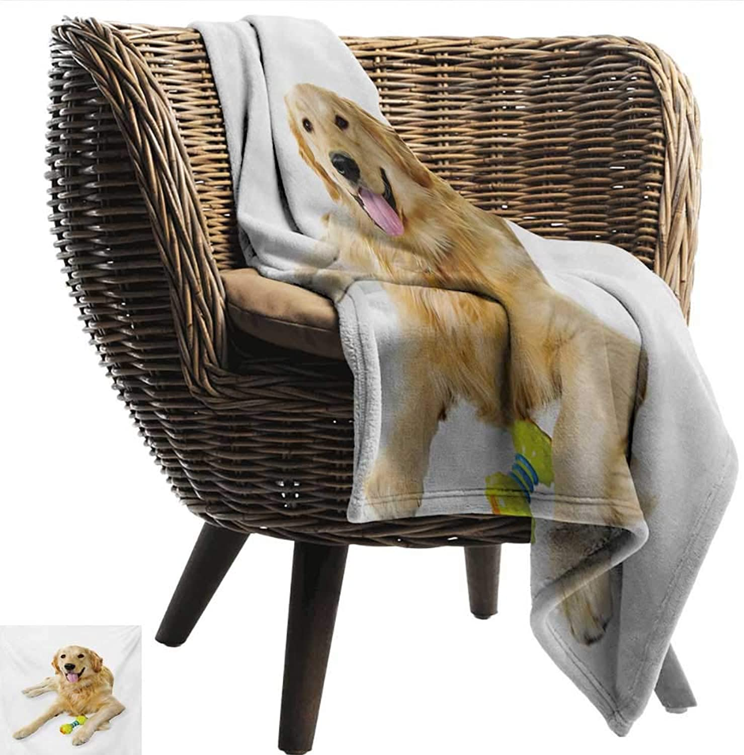 EwaskyOnline golden Retriever Flannel Blanket Pet Dog Laying Down with Toy Friendly Domestic Puppy Playful Companion Sofa Warm Bed 40  W x 60  L Multicolor