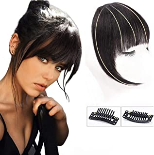 GongXiu Clip in Bangs Real Human Hair Extensions Human Hair in Fringe Straight Flat Bangs with Temples for Women(Natural Color)