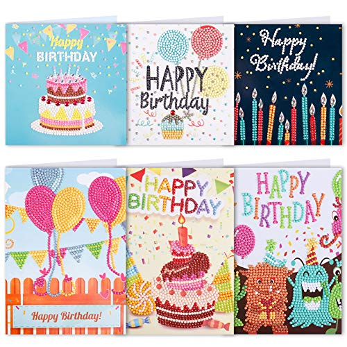 eZAKKA 5D DIY Diamond Painting Birthday Cards, Holiday Thank You Greeting Cards Making Kit Art Craft Gifts for Family Friends Lover, 6 Pack