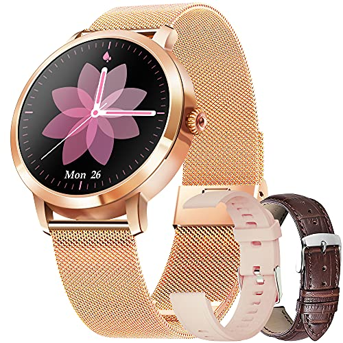 Smartwatch Mujer, Reloj Inteligente con Pulsómetro,Cronómetros,Calorías,Monitor de Sueño,Podómetro Monitores de Actividad Impermeable IP68 Smartwatch Reloj Deportivo para Android iOS (Oro)