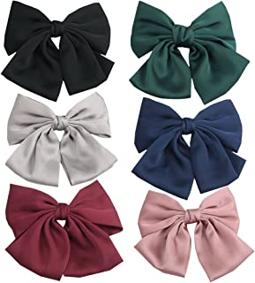 PIDOUDOU Set of 6 Big Satin Solid 8 Inch Bow Hair Clips Women Barrettes