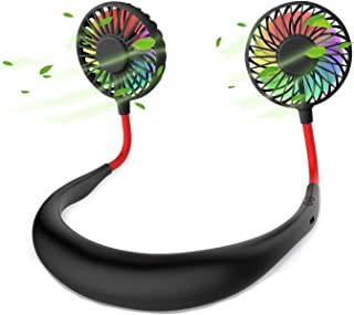 Hands-Free Portable Neck Fan - Rechargeable USB Mini Personal Fan Battery Operated with 3 Level Air Flow, 7 LED Lights for...