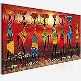 NIEMENGZHEN Impresión en Lienzo Pinturas de Arte Tribal Mujeres africanas Bailando Cuadro de Pintura al óleo para Sala de Estar Pinturas en Lienzo Decoración para el hogar 20x70cm con Marco