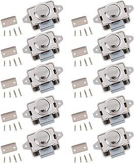 Hochwertig 10 Stück Metall Push Button Verriegelung, Drehknopf Schloß + Sattel + Schrauben für Wohnmobil