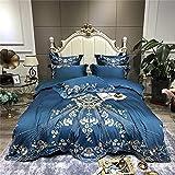 Exlcellexngce BettwäSche 4 Teilig,Luxus Blau Weiß Rot 1000tc äGyptischer Baumwolle BettwäSche Set Gold Blumen Stickerei Bettbezug Bett Leinen Ausgestattet Blatt Kissen-7_1,8m Bett (4 StüCke)